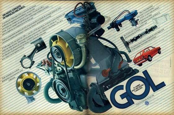 Volkswagen Gol. Um novo conceito de perfeição mecânica. Gol. O carro que une razão e emoção.