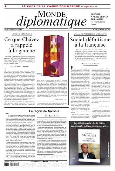 Le Monde diplomatique N°709 Avril 2013
