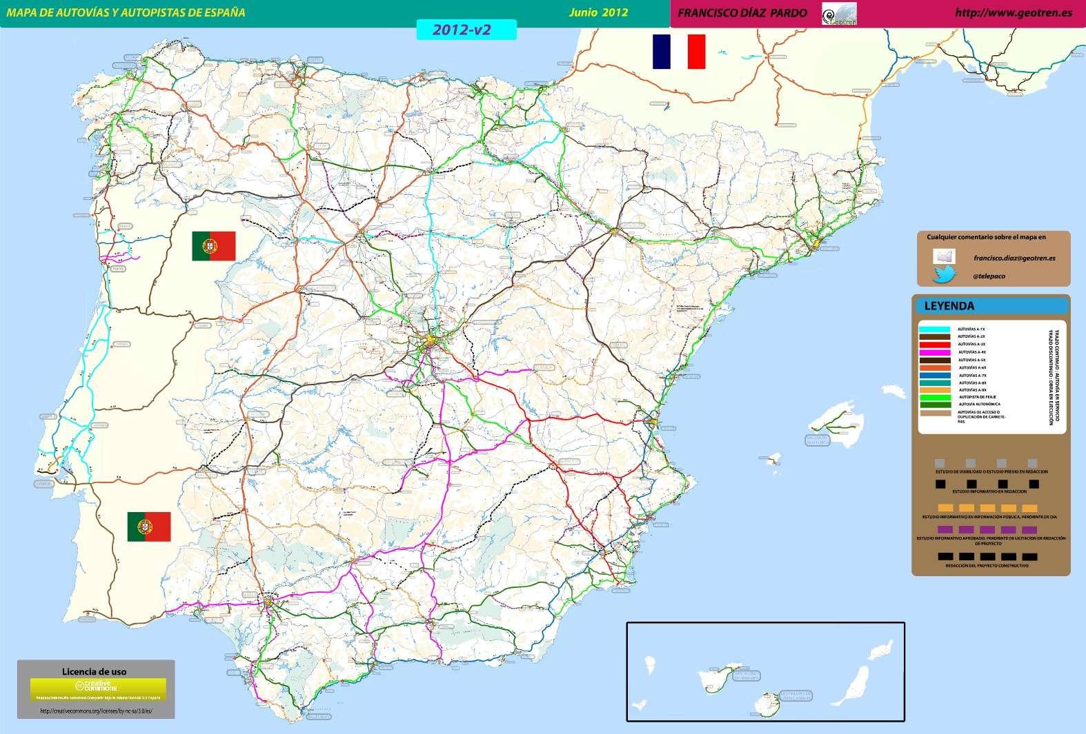 Mapa de Autovas y Autopistas de Espaa  Actualizacin Junio 2012