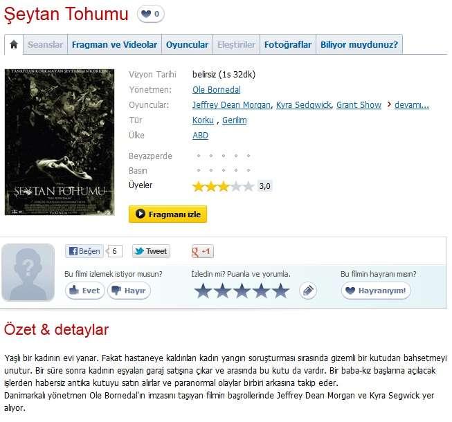 Şeytan Tohumu - 2012 Türkçe Dublaj 480p BRRip Tek Link
